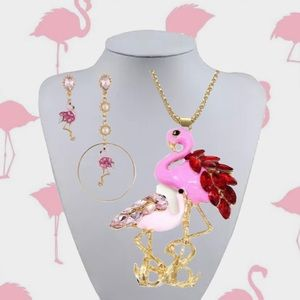 PINK FLAMINGO BIRD NECKLACE & MISMATCHED EARRINGS